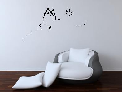 Samolepka na zeď - Motýl s větvičkou
