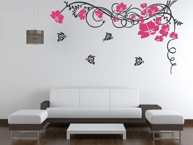 Květinový ornament s motýlky dvoubarevný