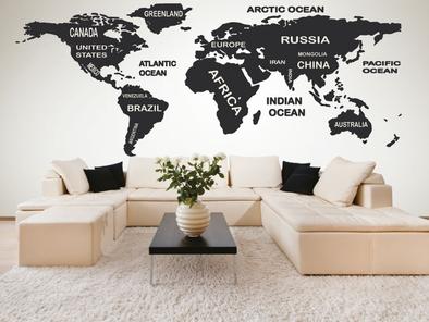 Samolepka na zeď - Mapa světa s popisky