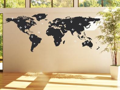 Samolepka na zeď - Letecká mapa světa