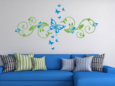 Samolepka na zeď - Ornament s motýlky