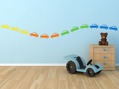 Samolepka na zeď - Sada barevných autíček