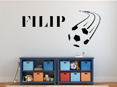 Samolepka na zeď - Fotbalový míč s Vaším jménem