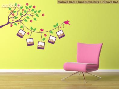 Samolepka na zeď - Větev s fotorámečky
