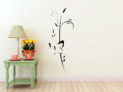 Samolepka na zeď - Květ s motýlem