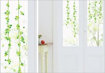 Zelené bobule - samolepka na sklo