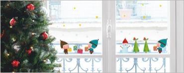 Vánoční dekorace na sklo Elves and gifts