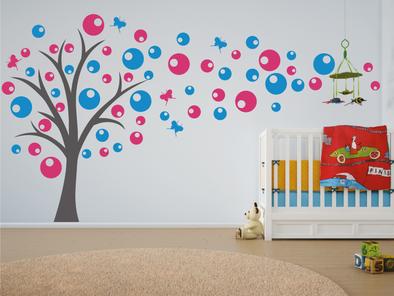 Samolepka na zeď - Strom s bublinami - výprodej