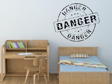 Samolepka na zeď - Danger - nebezpečí