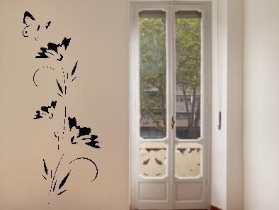 Samolepka na zeď - Květ s motýlem V2