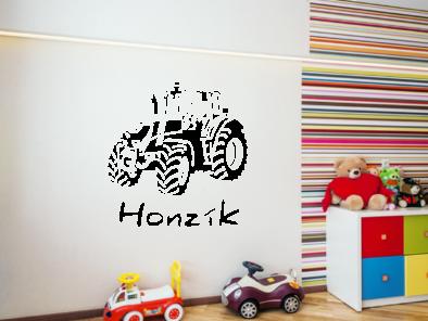 Samolepka na zeď - Traktor s vlastním jménem