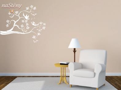 Samolepka na zeď - Ptáčci na větvi