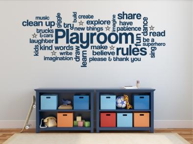 Samolepka na zeď - Pravidla dětského pokoje EN